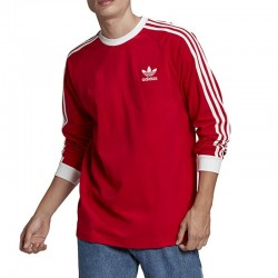 T-SHIRT MANCHES LONGUES ADIDAS 3-STRIPES / ROUGE
